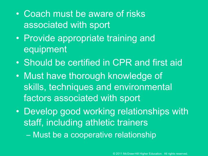Coach must be aware of risks associated with sport