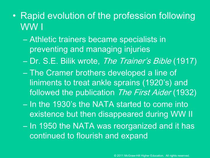 Rapid evolution of the profession following WW I