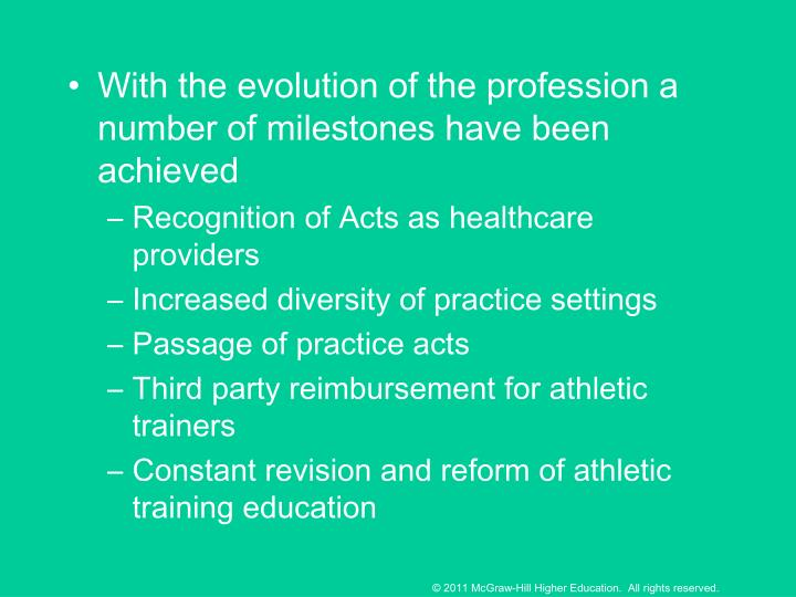 With the evolution of the profession a number of milestones have been achieved