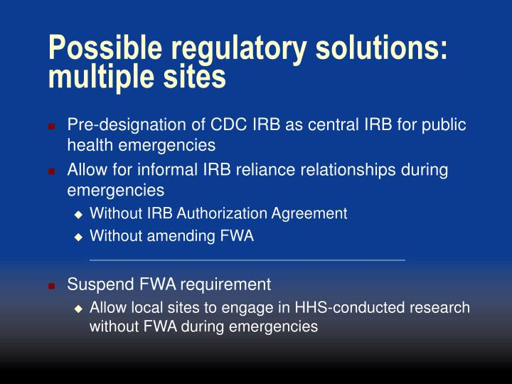 Ppt conducting research during public health emergencies possible regulatory solutions multiple sites platinumwayz