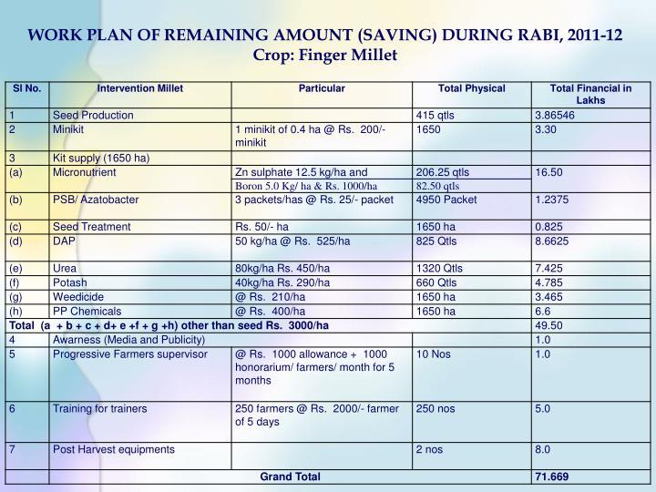 WORK PLAN OF REMAINING AMOUNT (SAVING) DURING RABI, 2011-12