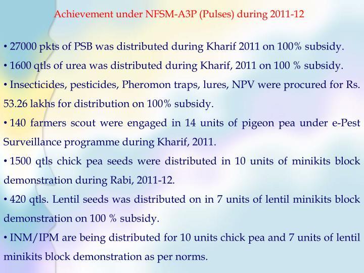 Achievement under NFSM-A3P (Pulses) during 2011-12