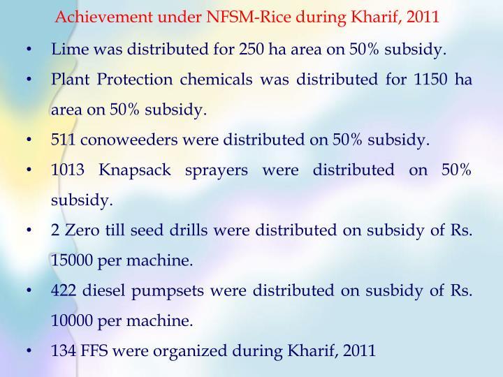 Achievement under NFSM-Rice during Kharif, 2011
