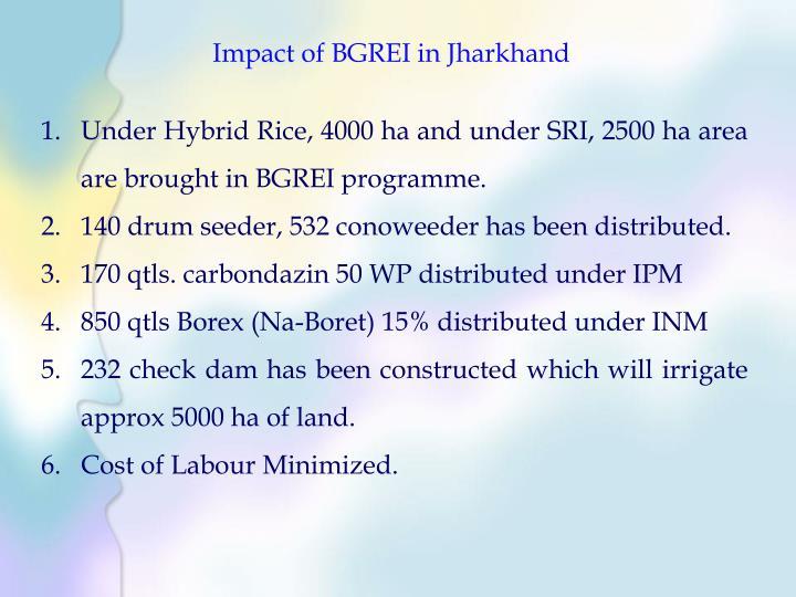Impact of BGREI in Jharkhand