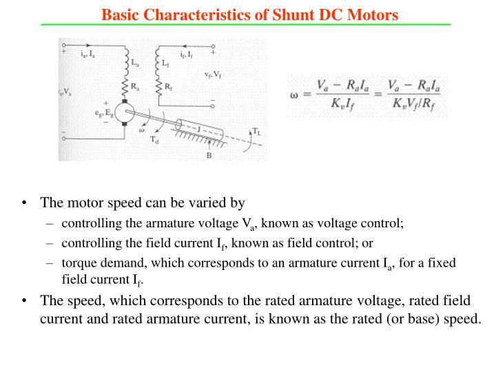 Basic Characteristics of Shunt DC Motors