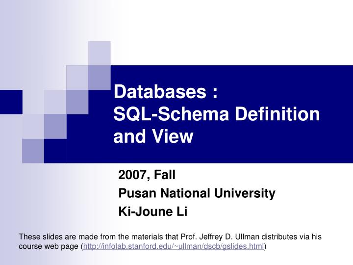 Databases sql schema definition and view
