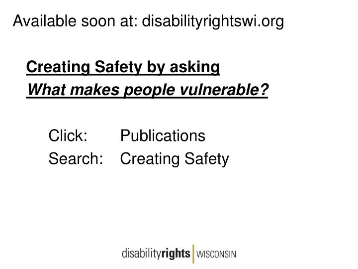 Available soon at: disabilityrightswi.org