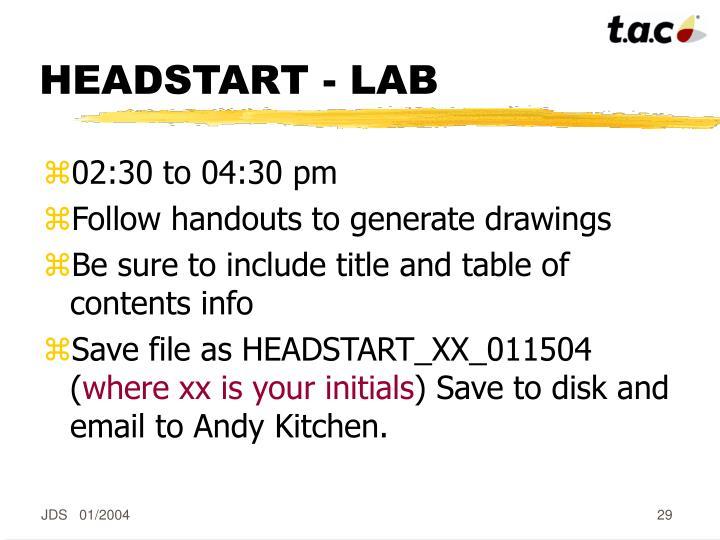 HEADSTART - LAB