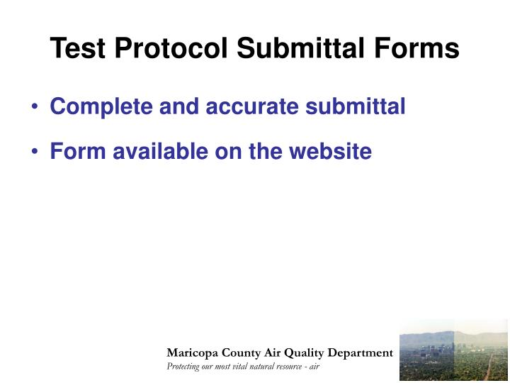 Test Protocol Submittal Forms