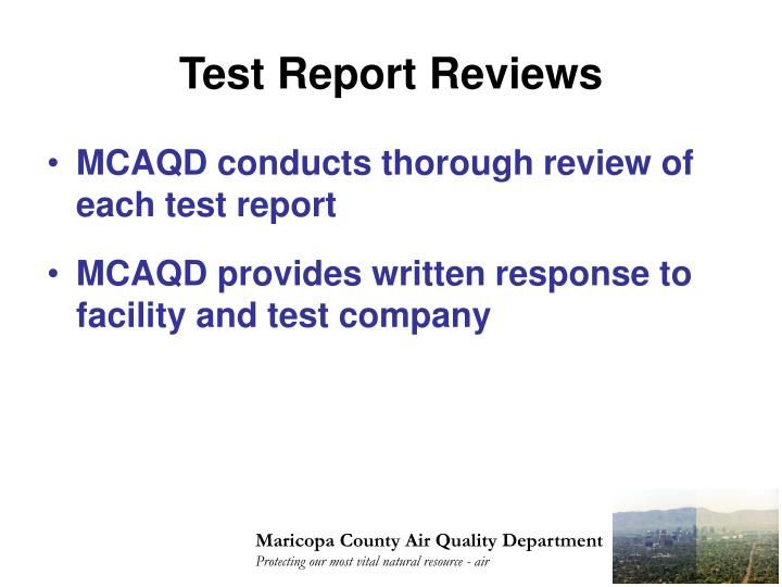 Test Report Reviews