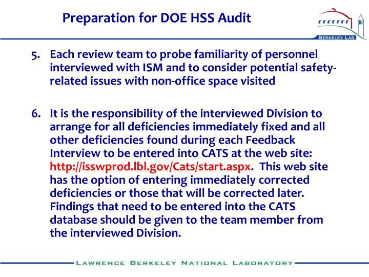 Preparation for DOE HSS Audit