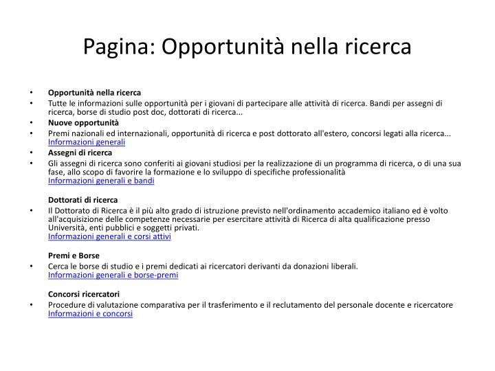 Pagina: Opportunità nella ricerca