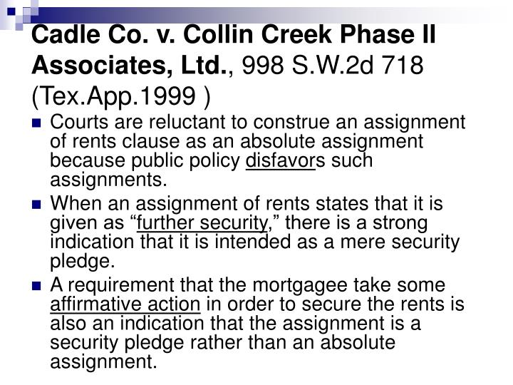 Cadle Co. v. Collin Creek Phase II Associates, Ltd.