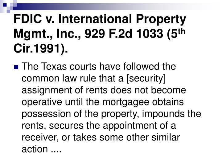 FDIC v. International Property Mgmt., Inc., 929 F.2d 1033 (5