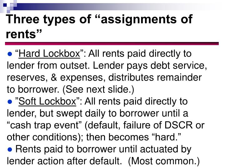 Three types of assignments of rents