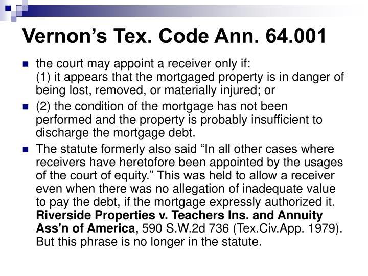 Vernon's Tex. Code Ann. 64.001