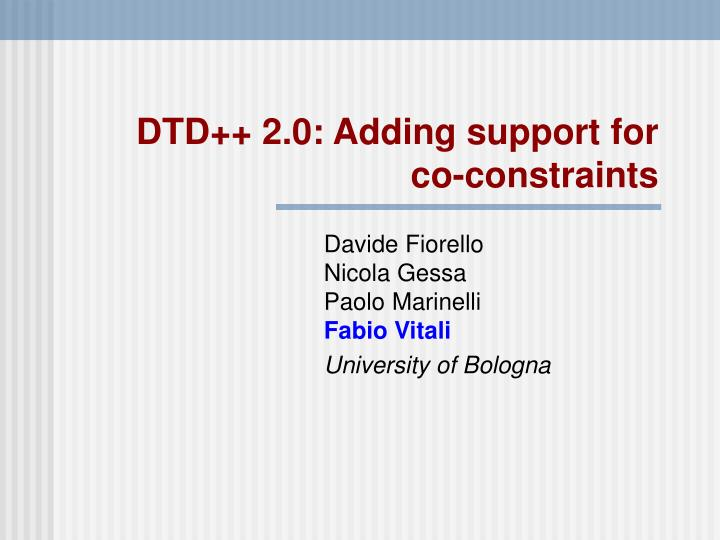 Dtd 2 0 adding support for co constraints
