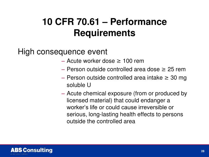 10 CFR 70.61 – Performance Requirements