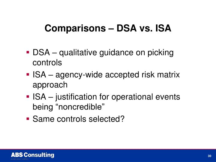 Comparisons – DSA vs. ISA