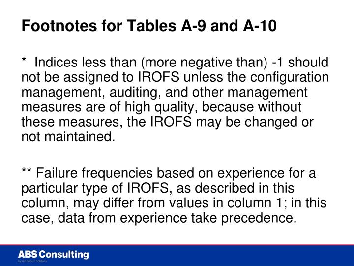 Footnotes for Tables A-9 and A-10