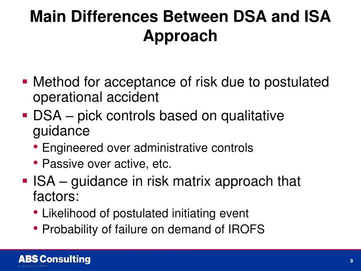 Main Differences Between DSA and ISA Approach