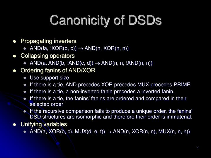 Canonicity of DSDs