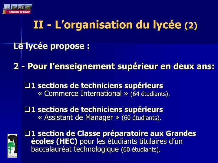 II - L'organisation du lycée