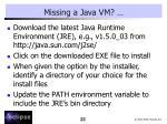 missing a java vm