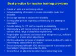 best practice for teacher training providers