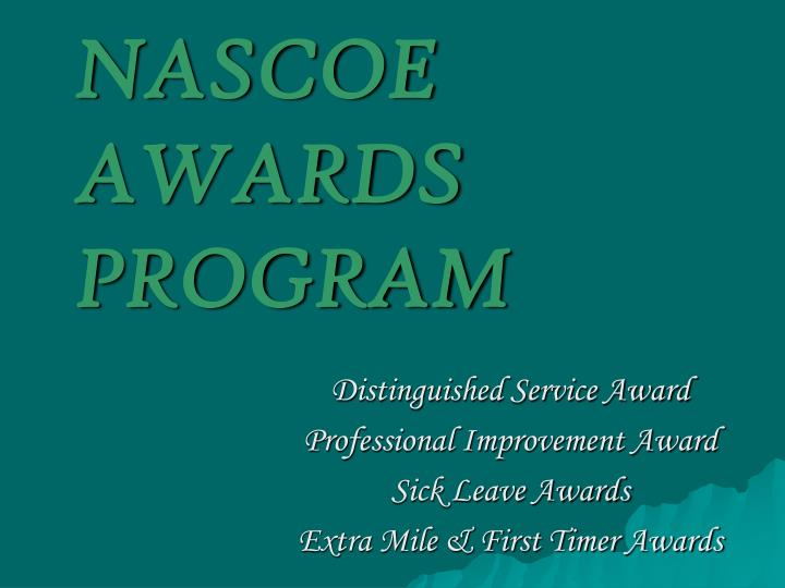 nascoe awards program n.