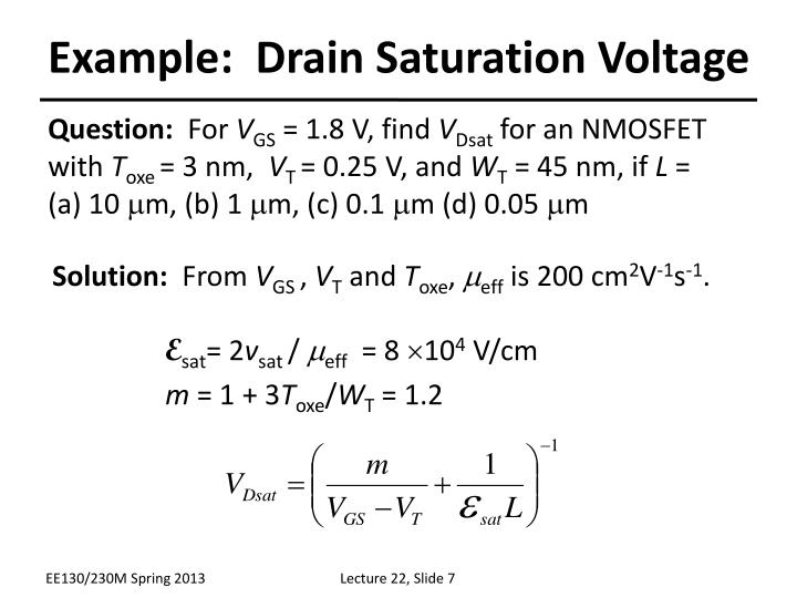 Example:  Drain Saturation Voltage