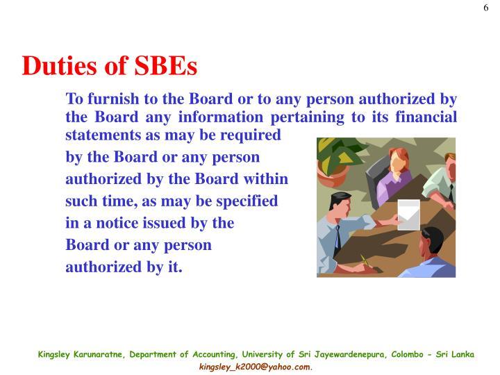 Duties of SBEs