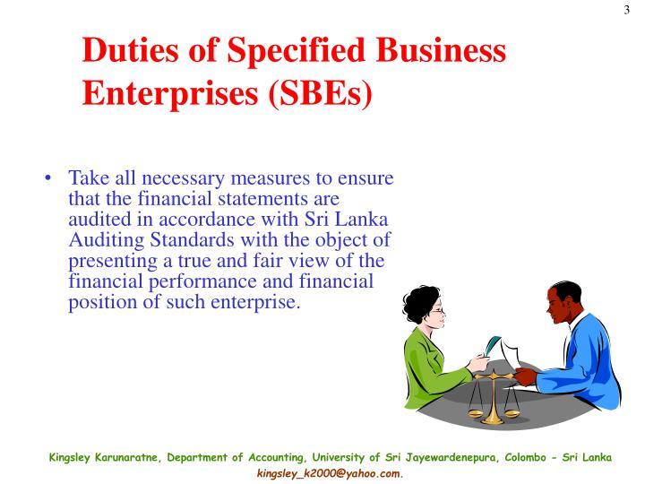 Duties of specified business enterprises sbes1