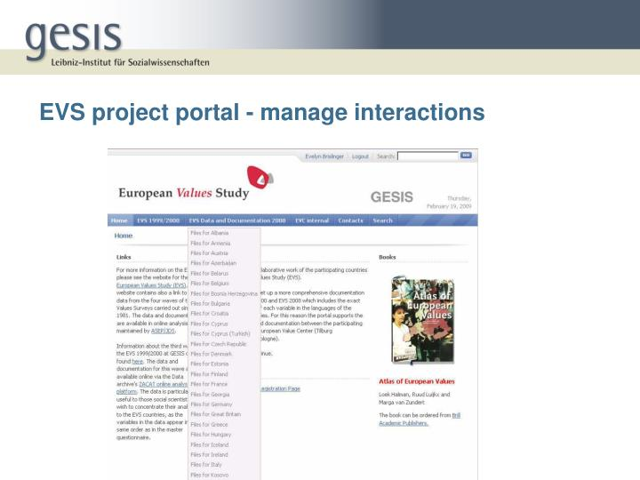 EVS project portal - manage interactions