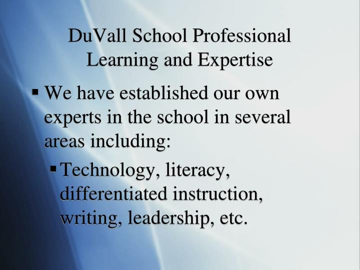 DuVall School Professional Learning and Expertise
