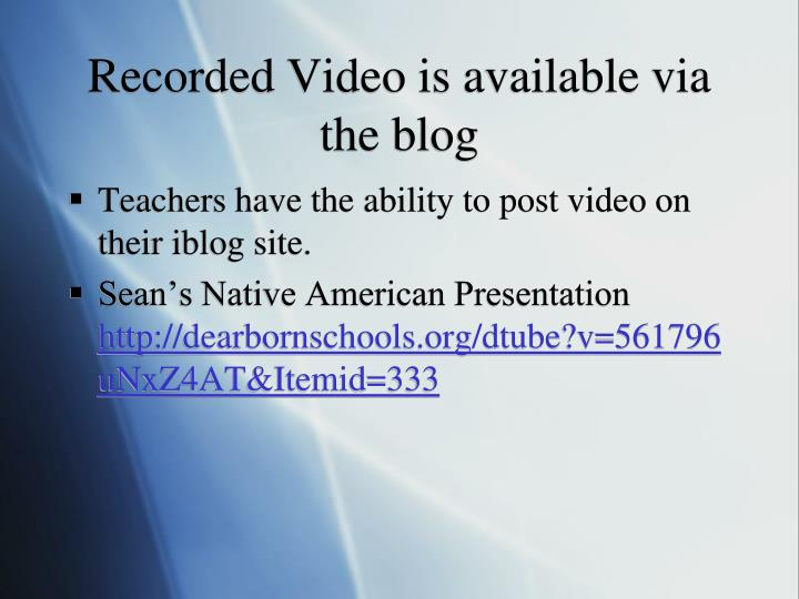 Recorded Video is available via the blog