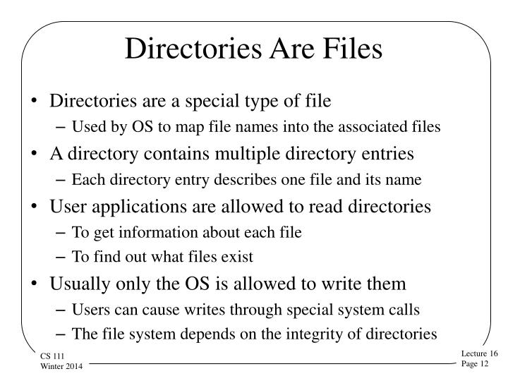 Directories Are Files
