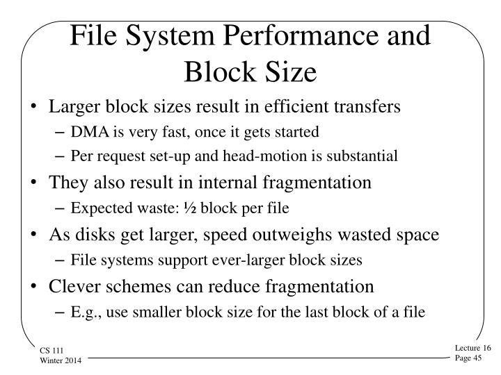 File System Performance and Block Size