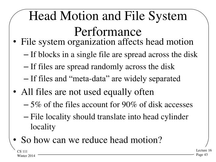 Head Motion and File System Performance