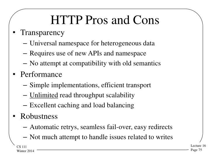 HTTP Pros and Cons