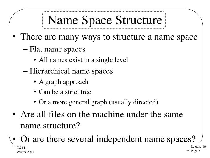Name Space Structure