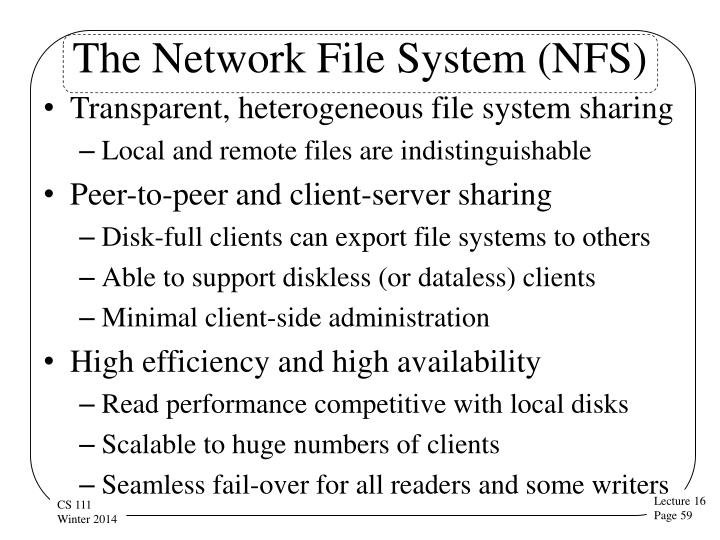 The Network File System (NFS)