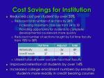 cost savings for institution