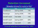 retention increased students enrolled in course to end