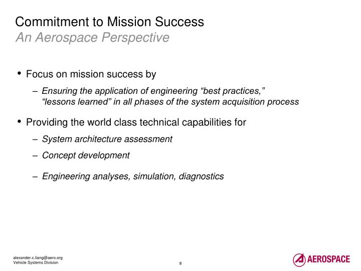 Commitment to Mission Success