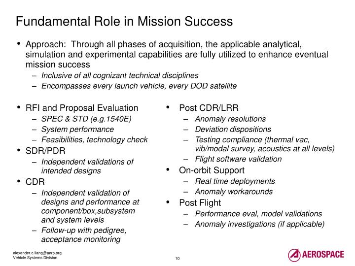 Approach:  Through all phases of acquisition, the applicable analytical, simulation and experimental capabilities are fully utilized to enhance eventual mission success