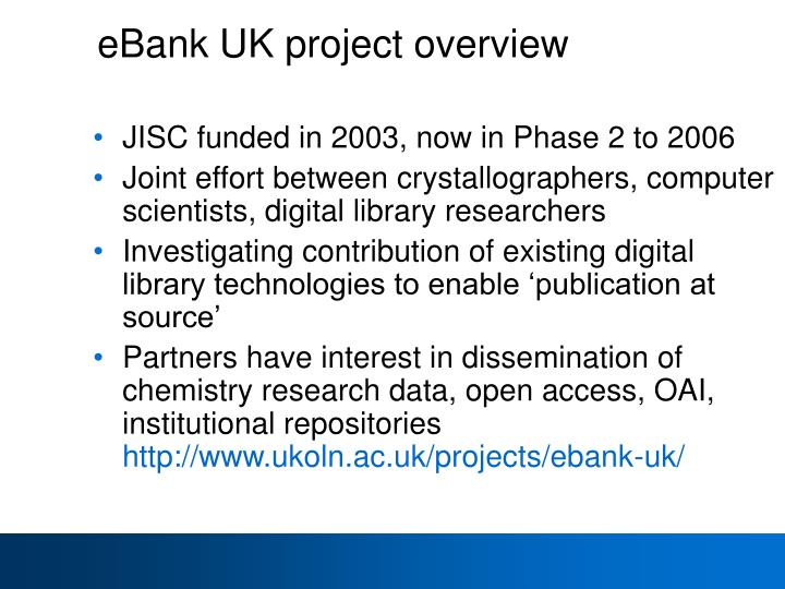 eBank UK project overview