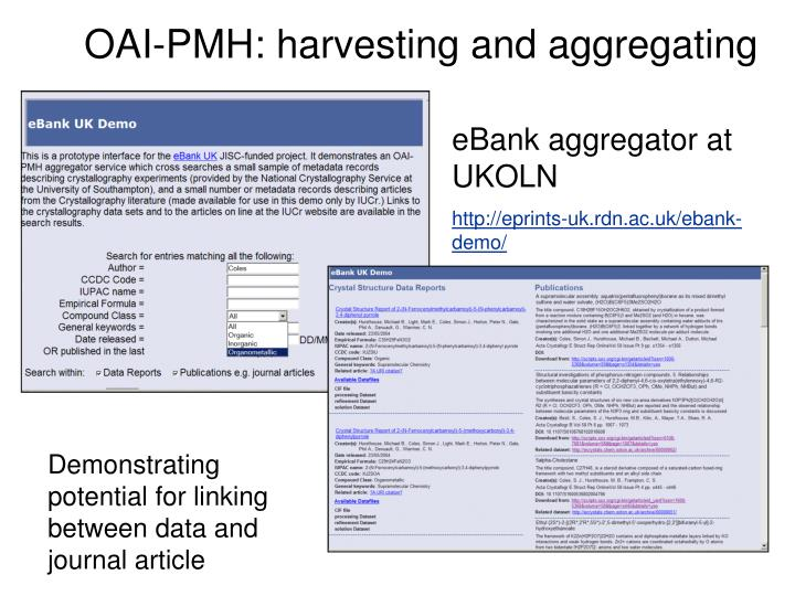 OAI-PMH: harvesting and aggregating