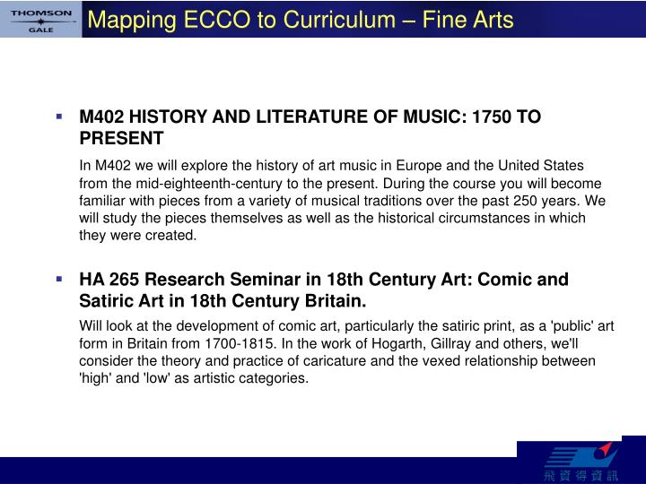Mapping ECCO to Curriculum – Fine Arts
