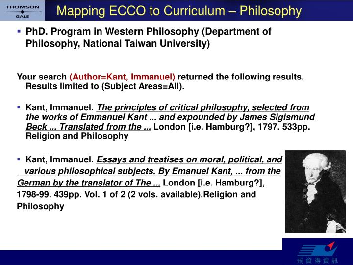 Mapping ECCO to Curriculum – Philosophy